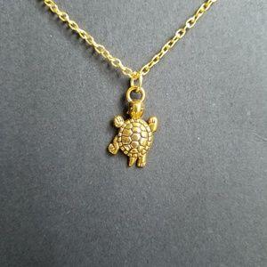 Jewelry - Gold turtle necklace, turtle jewelry